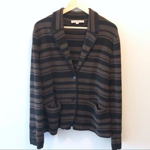 LOFT Black Brown Striped Cotton Blazer Sweater XL